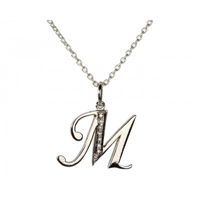Alphabet M pendant with diamonds